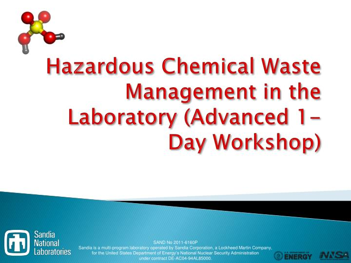 hazardous chemical waste management in the laboratory advanced 1 day workshop n.