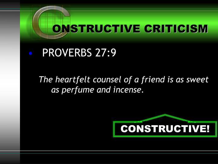 ONSTRUCTIVE CRITICISM