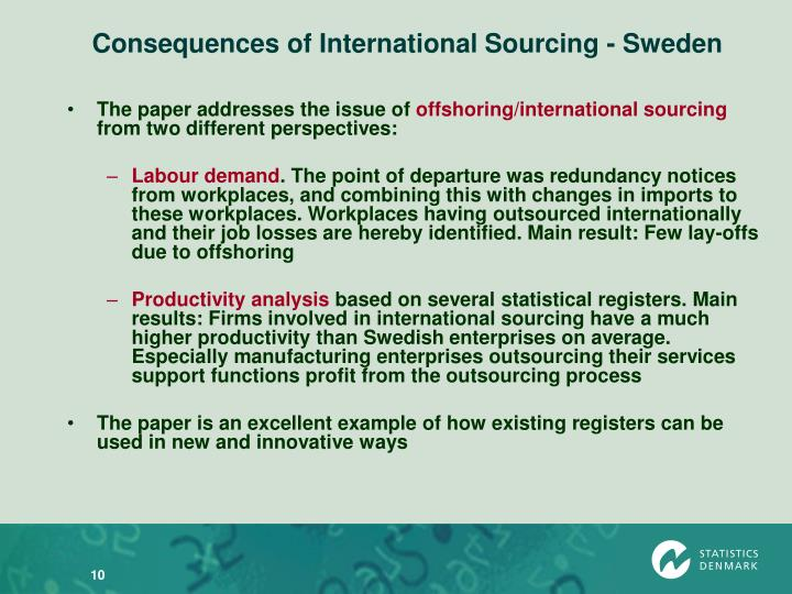 Consequences of International Sourcing - Sweden