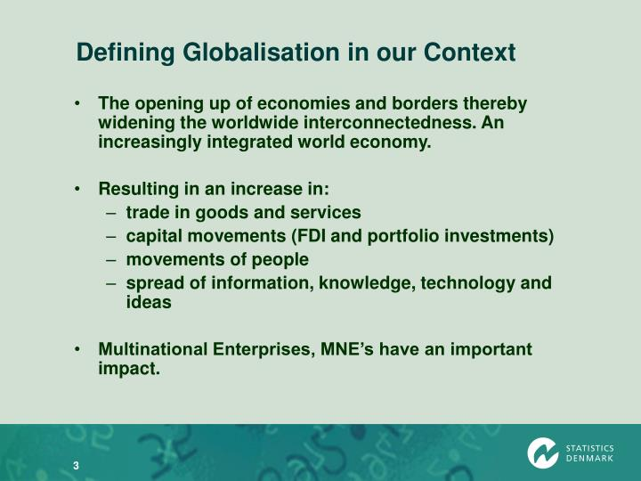 Defining globalisation in our context
