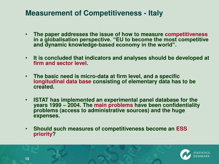 Measurement of Competitiveness - Italy