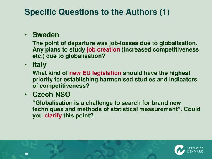 Specific Questions to the Authors (1)