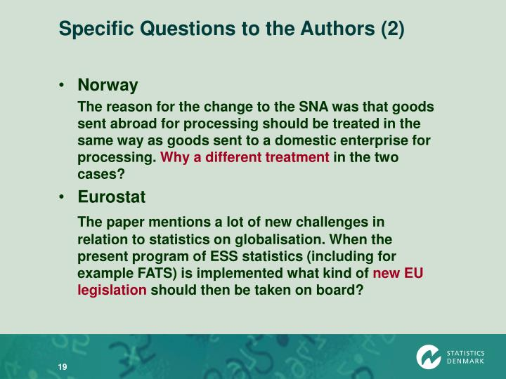 Specific Questions to the Authors (2)