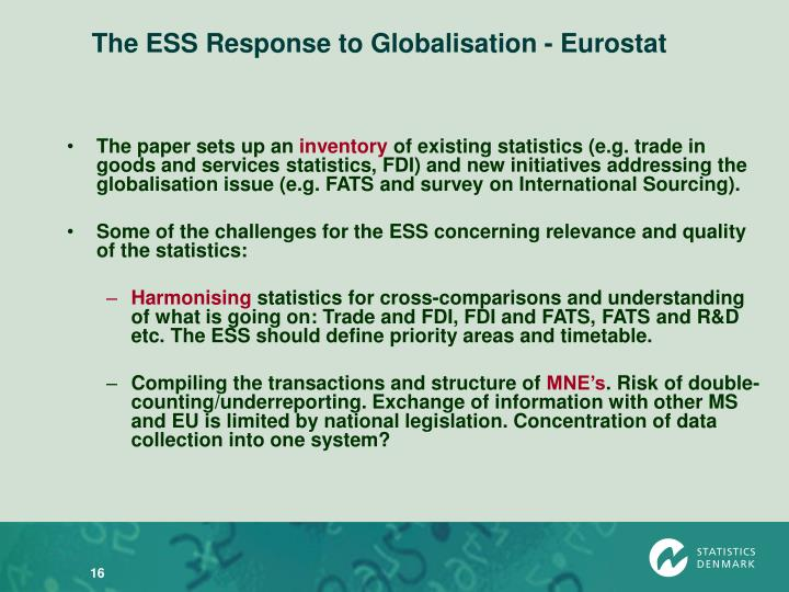 The ESS Response to Globalisation - Eurostat