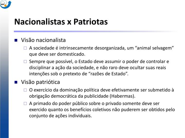 Nacionalistas x Patriotas