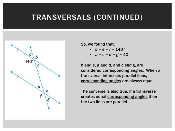 Transversals (continued)