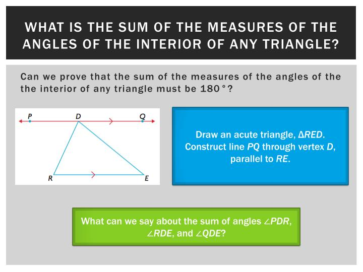 What is the sum of the measures of the angles of the interior of any triangle?