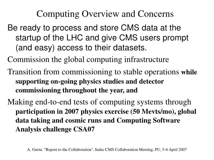 Computing Overview and Concerns