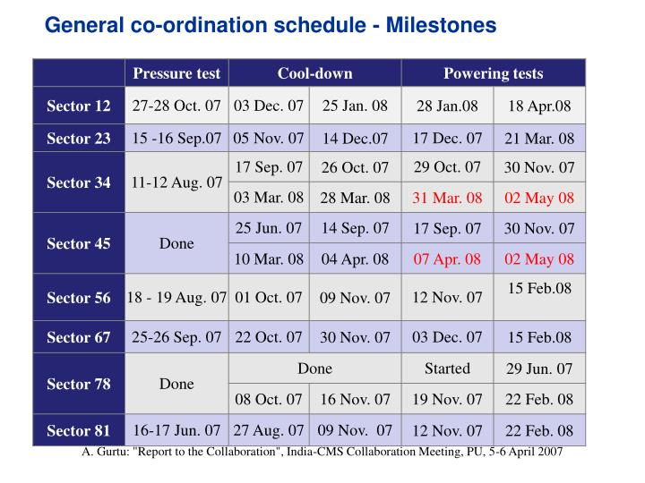 General co-ordination schedule - Milestones