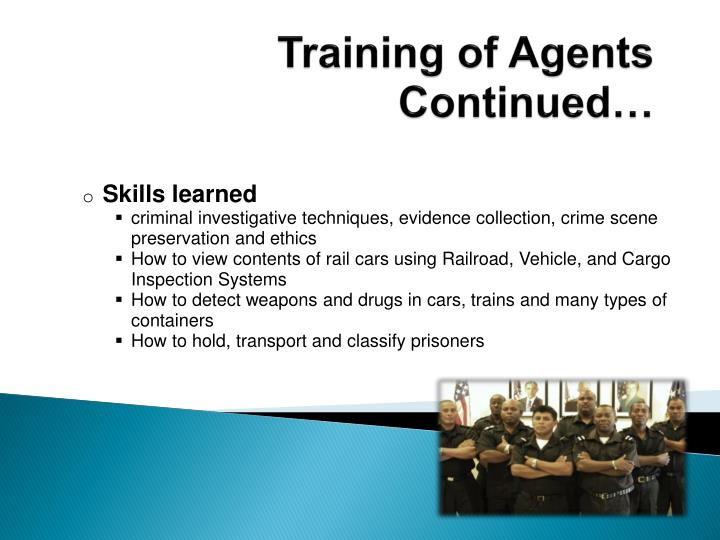 Training of Agents Continued…