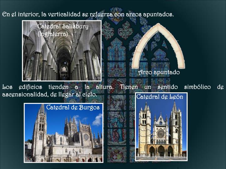 En el interior, la verticalidad se refuerza con arcos apuntados.