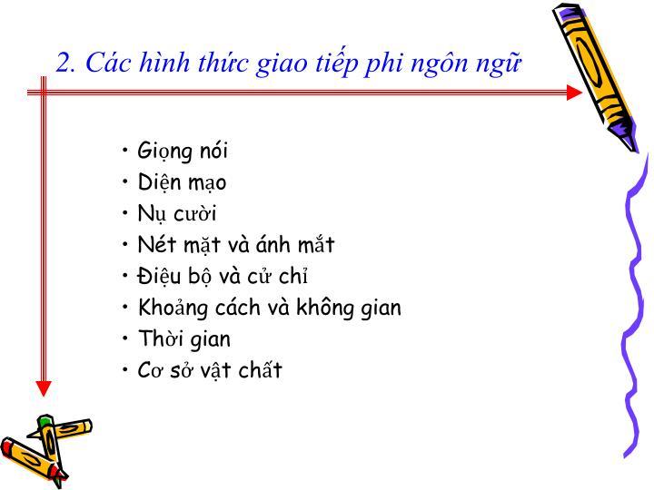 2. Các hình thức giao tiếp phi ngôn ngữ