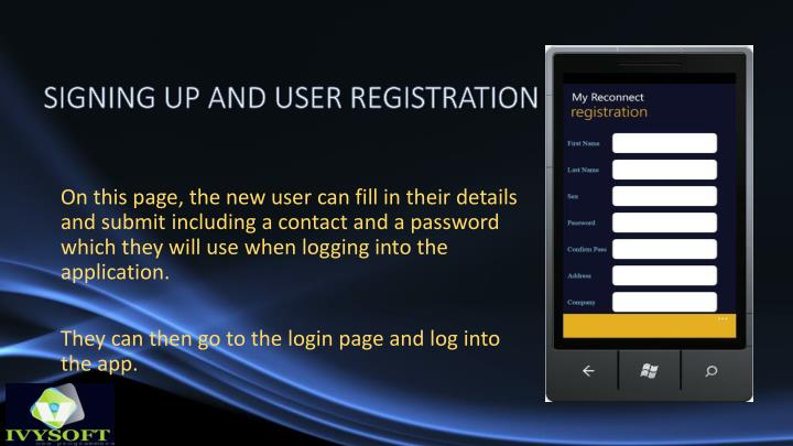 SIGNING UP AND USER REGISTRATION