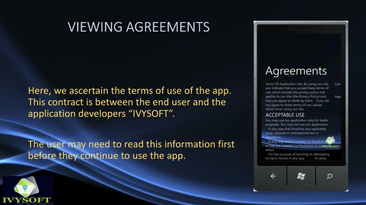 VIEWING AGREEMENTS