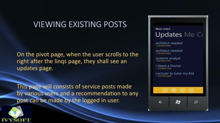 VIEWING EXISTING POSTS