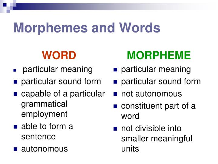 morphemes Morpheme the smallest semantically meaningful unit of a spoken language (words, prefixes or suffixes) that have discrete meanings the formal study of morphemes is termed morphology.