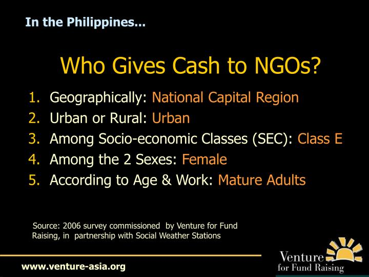 Who Gives Cash to NGOs?