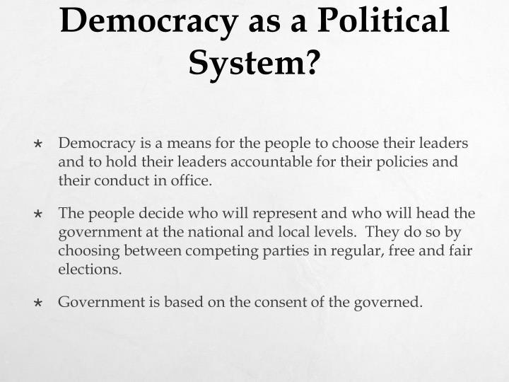 Democracy as a Political