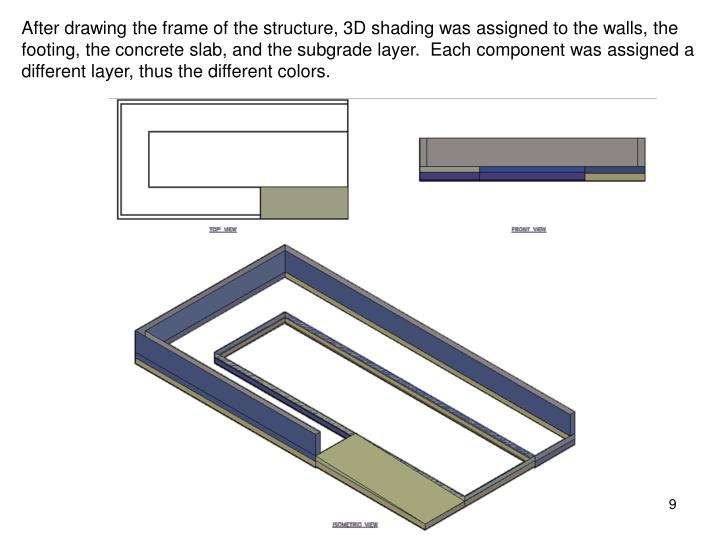 After drawing the frame of the structure, 3D shading was assigned to the walls, the footing, the concrete slab, and the subgrade layer.  Each component was assigned a different layer, thus the different colors.