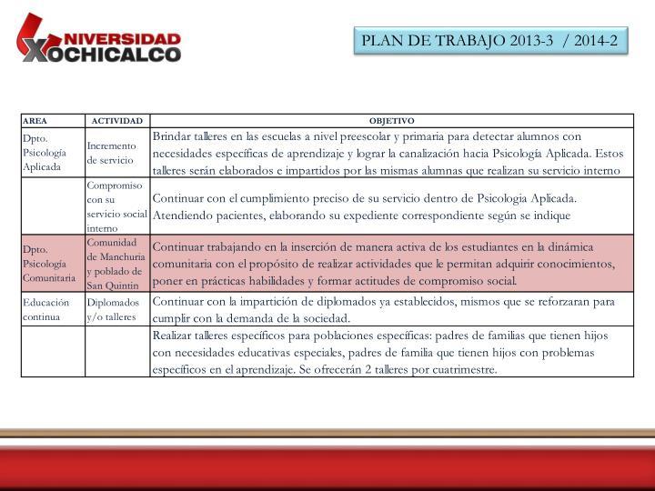 PLAN DE TRABAJO 2013-3  / 2014-2