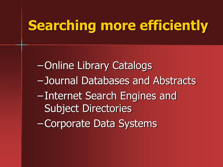 Searching more efficiently
