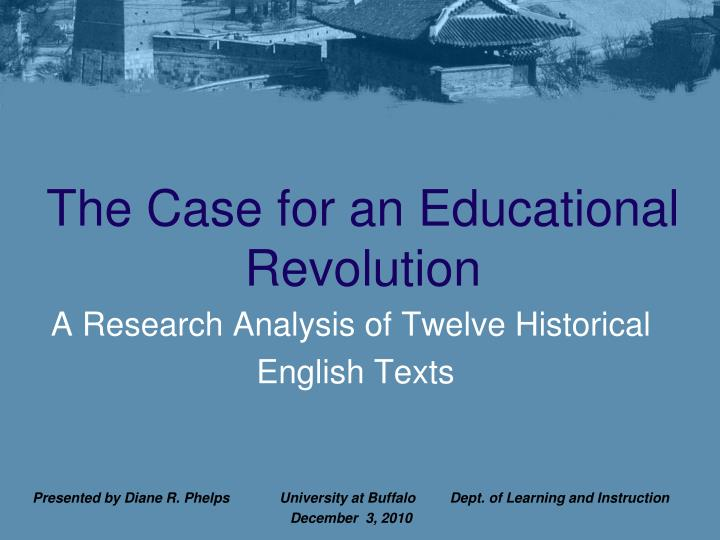 the case for an educational revolution n.