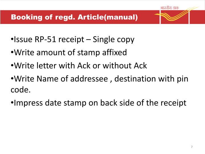 Booking of regd. Article(manual)