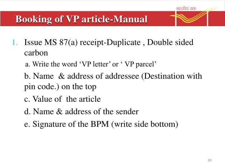 Booking of VP article-Manual