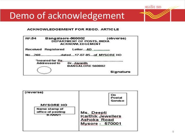 Demo of acknowledgement