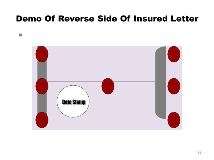 Demo Of Reverse Side Of Insured Letter