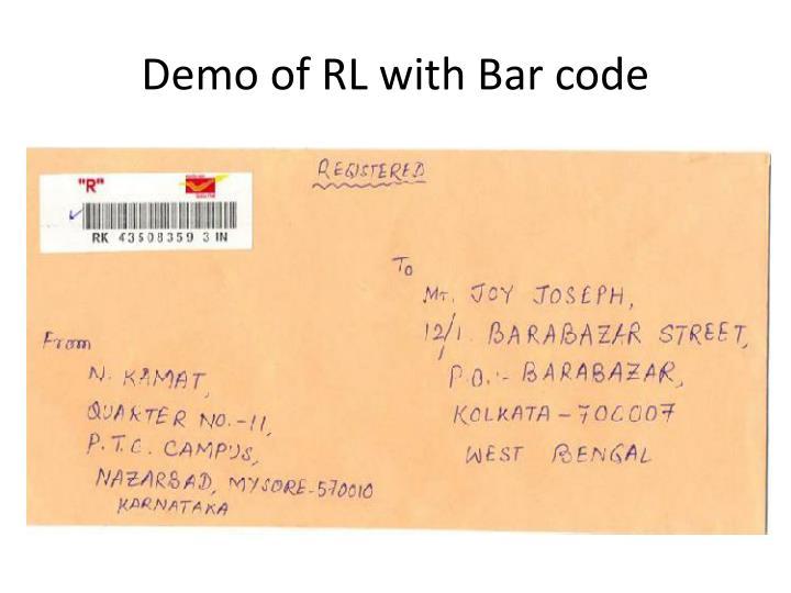 Demo of RL with Bar code
