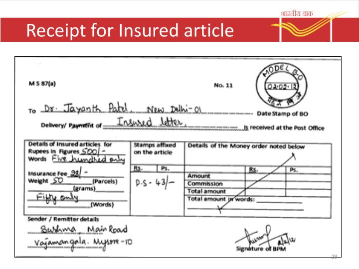 Receipt for Insured article