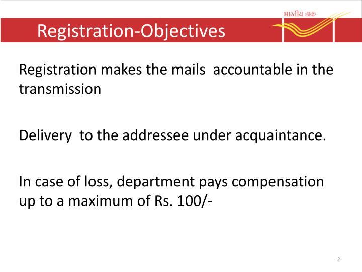Registration objectives
