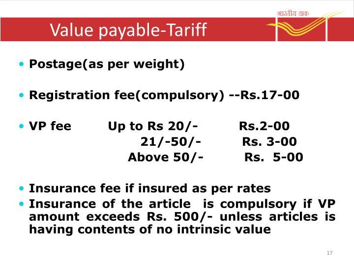 Value payable-Tariff