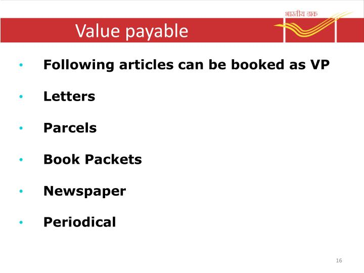 Value payable