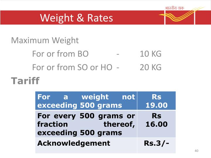 Weight & Rates