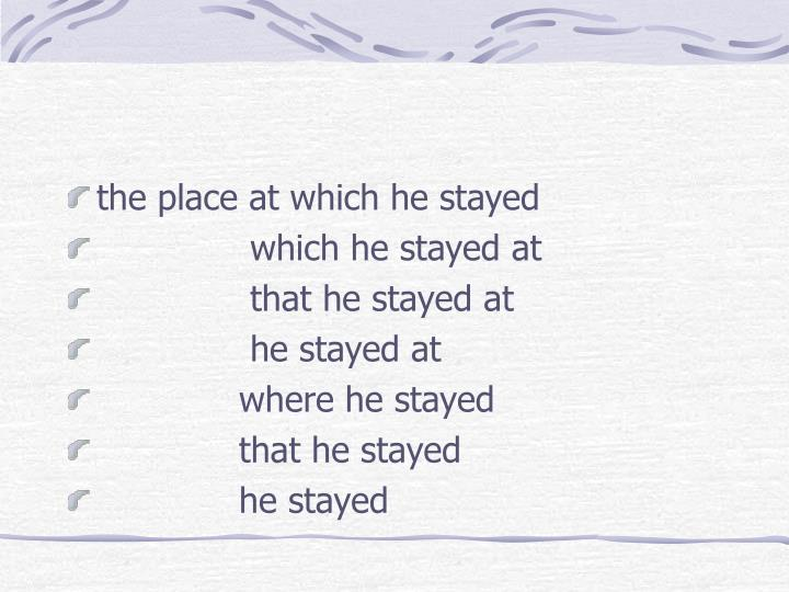 the place at which he stayed
