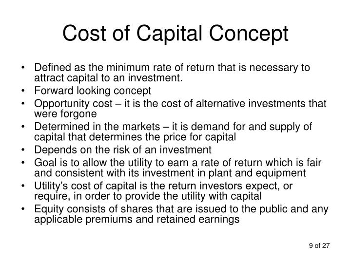 various concepts of cost of capital Introduction the cost of capital is the cost of a importance of cost of capital the concept of cost of share capital is different from equity.