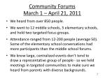 community forums march 1 april 21 2011
