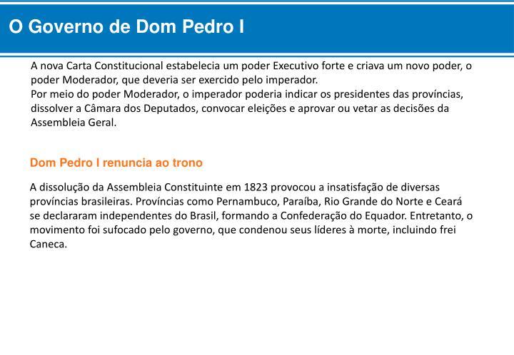 O Governo de Dom Pedro I