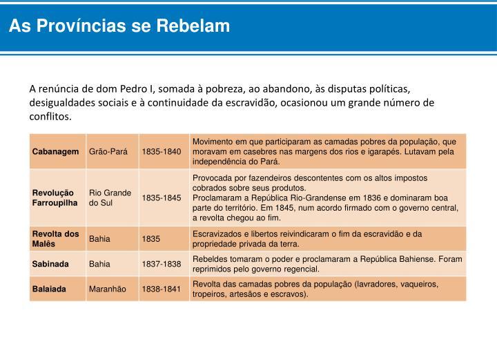 As Províncias se Rebelam