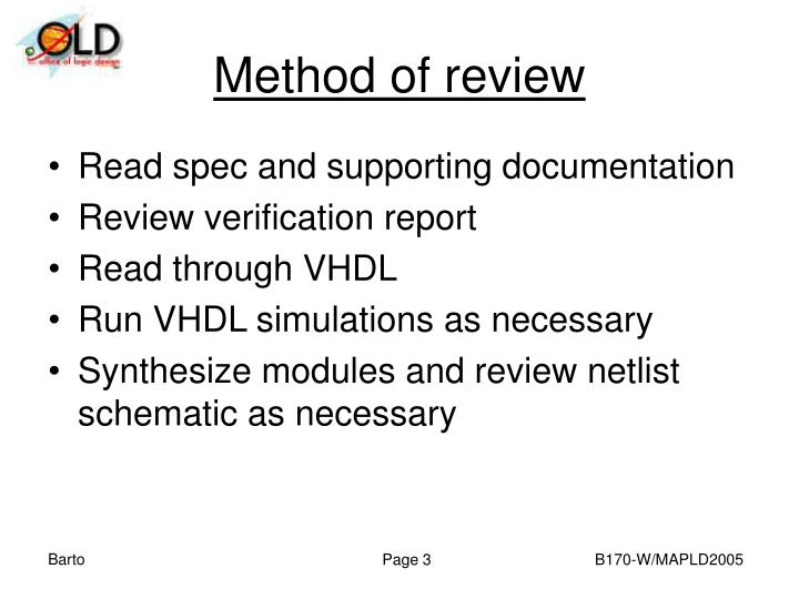 Method of review