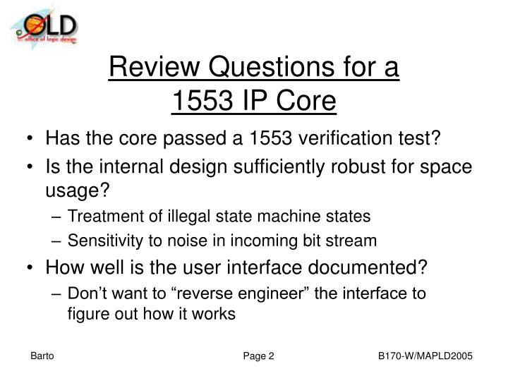 Review questions for a 1553 ip core