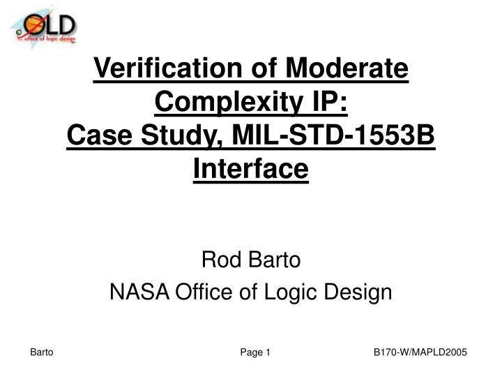 PPT - Verification of Moderate Complexity IP: Case Study ...