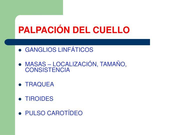 PALPACIÓN DEL CUELLO