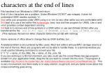 characters at the end of lines