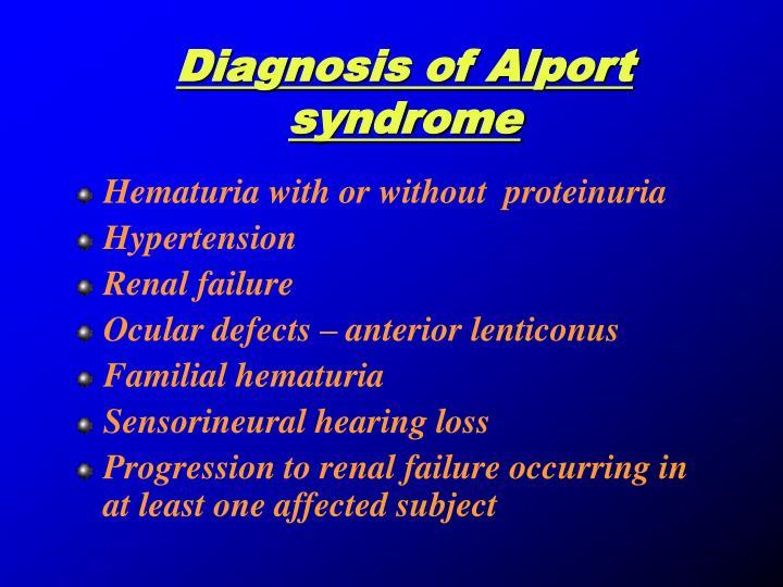 Diagnosis of Alport syndrome