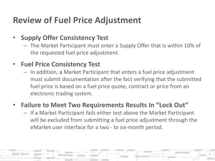 Review of Fuel Price Adjustment