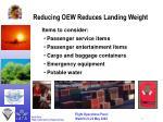 reducing oew reduces landing weight