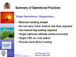 summary of operational practices